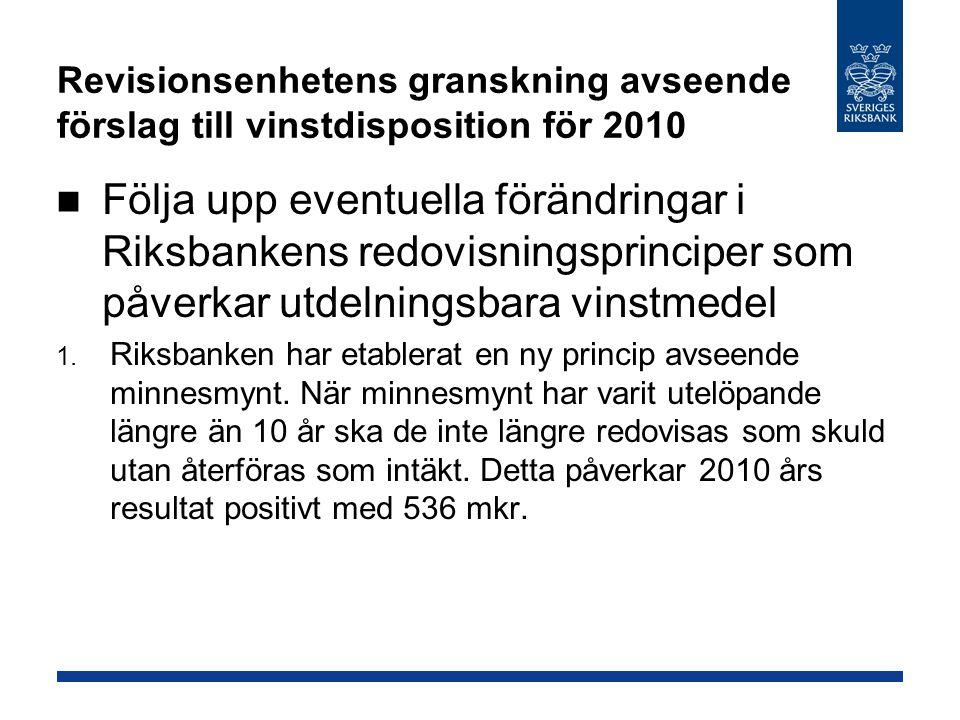 Revisionsenhetens granskning avseende förslag till vinstdisposition för 2010 Följa upp eventuella förändringar i Riksbankens redovisningsprinciper som påverkar utdelningsbara vinstmedel 1.