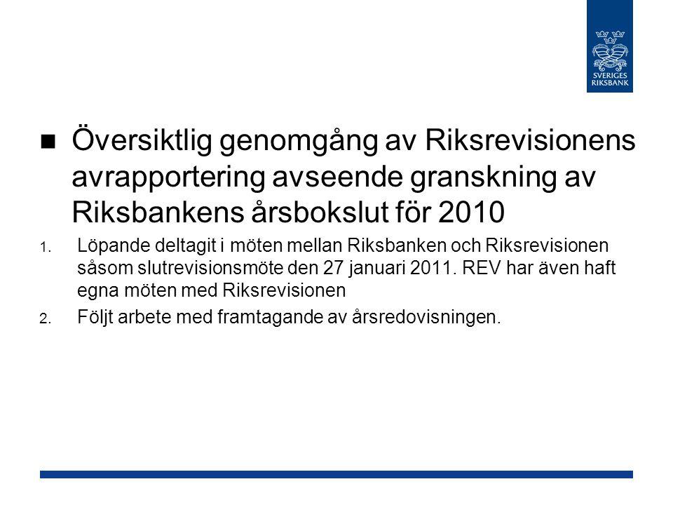 Översiktlig genomgång av Riksrevisionens avrapportering avseende granskning av Riksbankens årsbokslut för 2010 1.