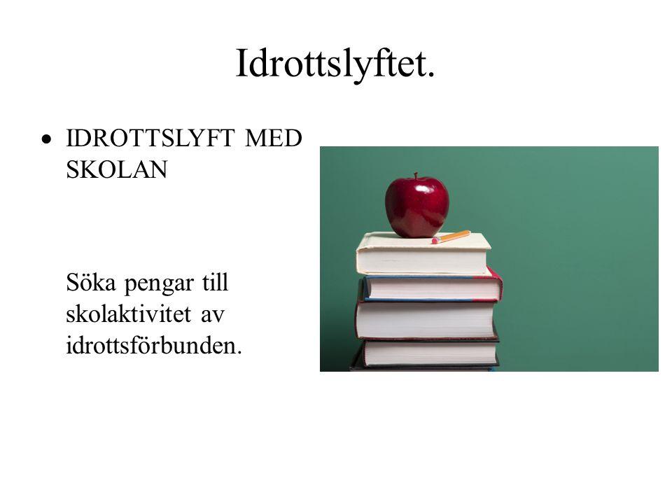 Idrottslyftet.  IDROTTSLYFT MED SKOLAN Söka pengar till skolaktivitet av idrottsförbunden.