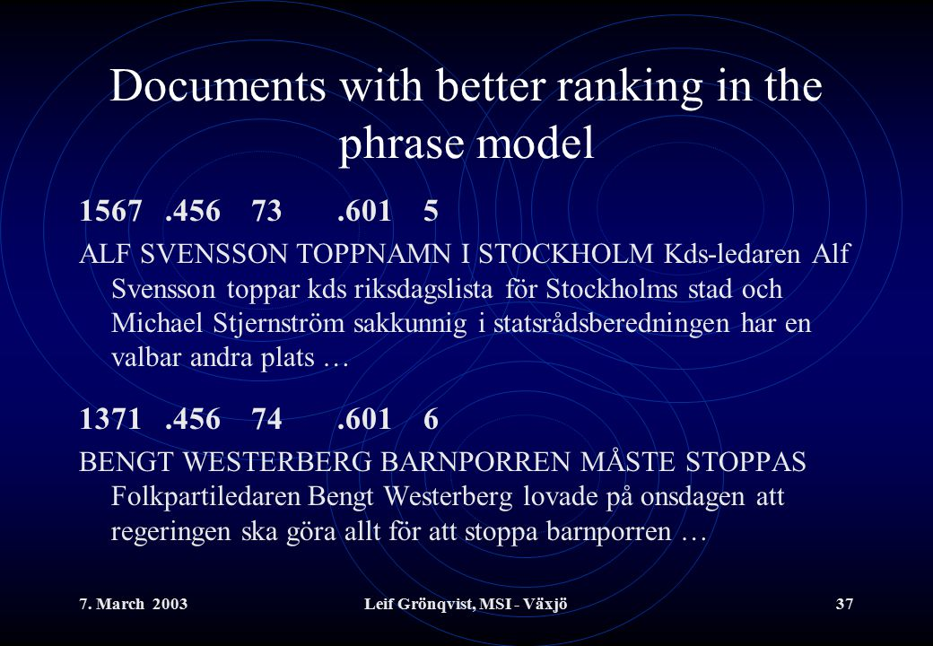 7. March 2003Leif Grönqvist, MSI - Växjö37 Documents with better ranking in the phrase model 1567.45673.6015 ALF SVENSSON TOPPNAMN I STOCKHOLM Kds-led