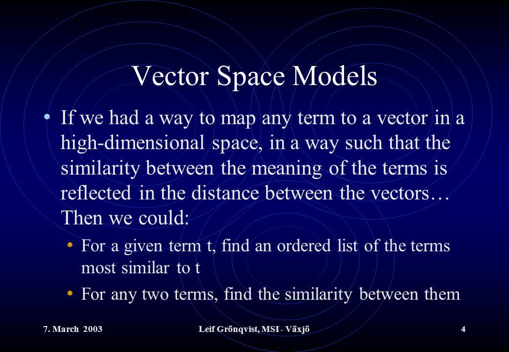 7.March 2003Leif Grönqvist, MSI - Växjö5 Vector Space Models, cont.