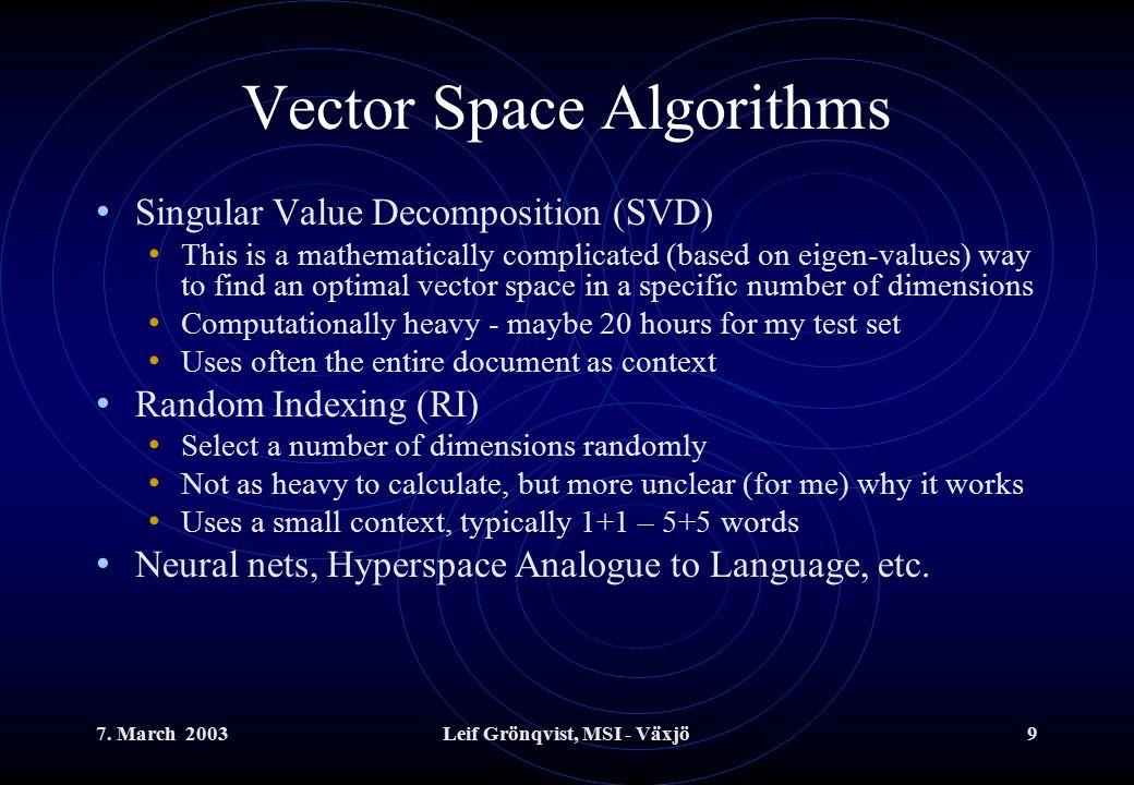 7.March 2003Leif Grönqvist, MSI - Växjö20 A naïve algorithm Not trivial that SVD and RI works.