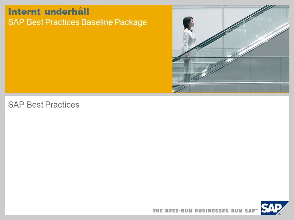 Internt underhåll SAP Best Practices Baseline Package SAP Best Practices