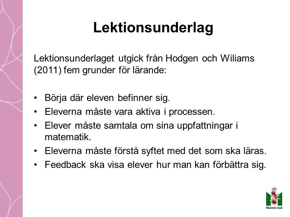 Lektionsunderlag Lektionsunderlaget utgick från Hodgen och Wiliams (2011) fem grunder för lärande: Börja där eleven befinner sig. Eleverna måste vara