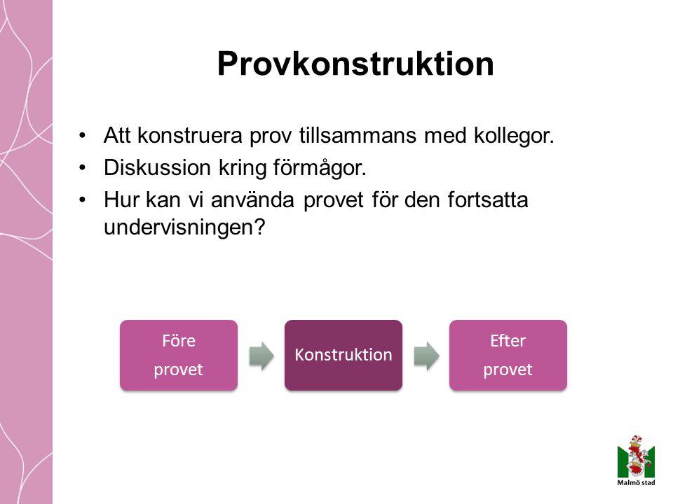 Provkonstruktion Att konstruera prov tillsammans med kollegor. Diskussion kring förmågor. Hur kan vi använda provet för den fortsatta undervisningen?