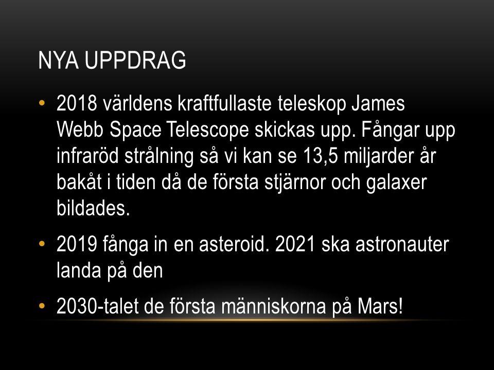 NASA är den amerikanska rymdfartsorganisationen Raketer skickas från Floridas atlantkust 2018 teleskop gör att NASA kan se 13,5 miljarder år bakåt i tiden 2019 fånga in en asteroid 2030-talet astronauter på Mars NASA Källförteckning: http://illvet.se/teknologi/rymdfart/nasa-bakgrunden-till-nasa