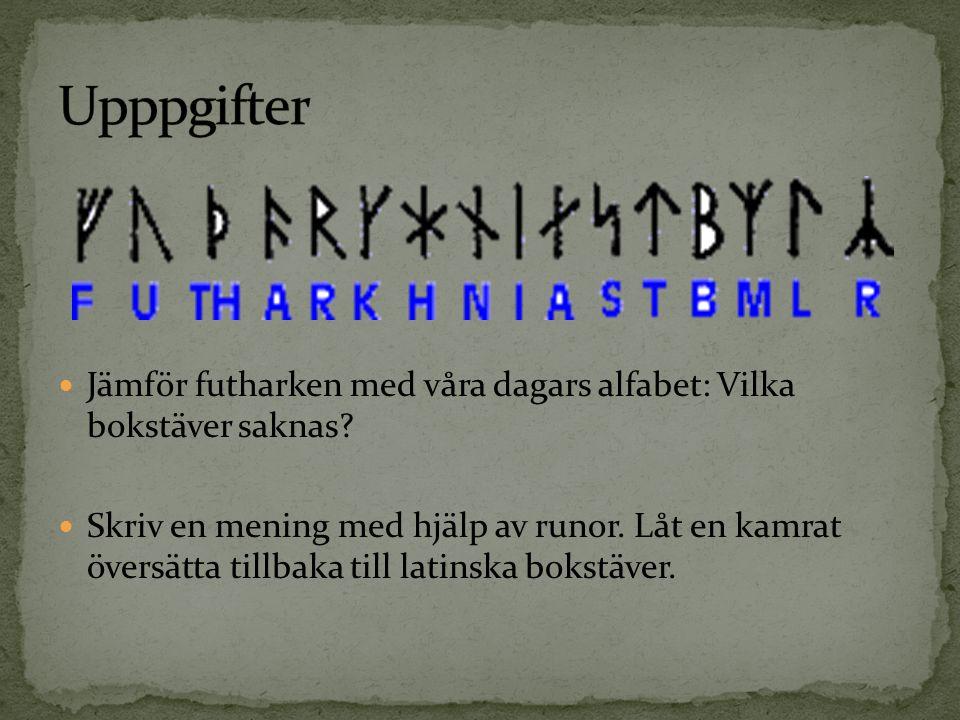 Jämför futharken med våra dagars alfabet: Vilka bokstäver saknas? Skriv en mening med hjälp av runor. Låt en kamrat översätta tillbaka till latinska b
