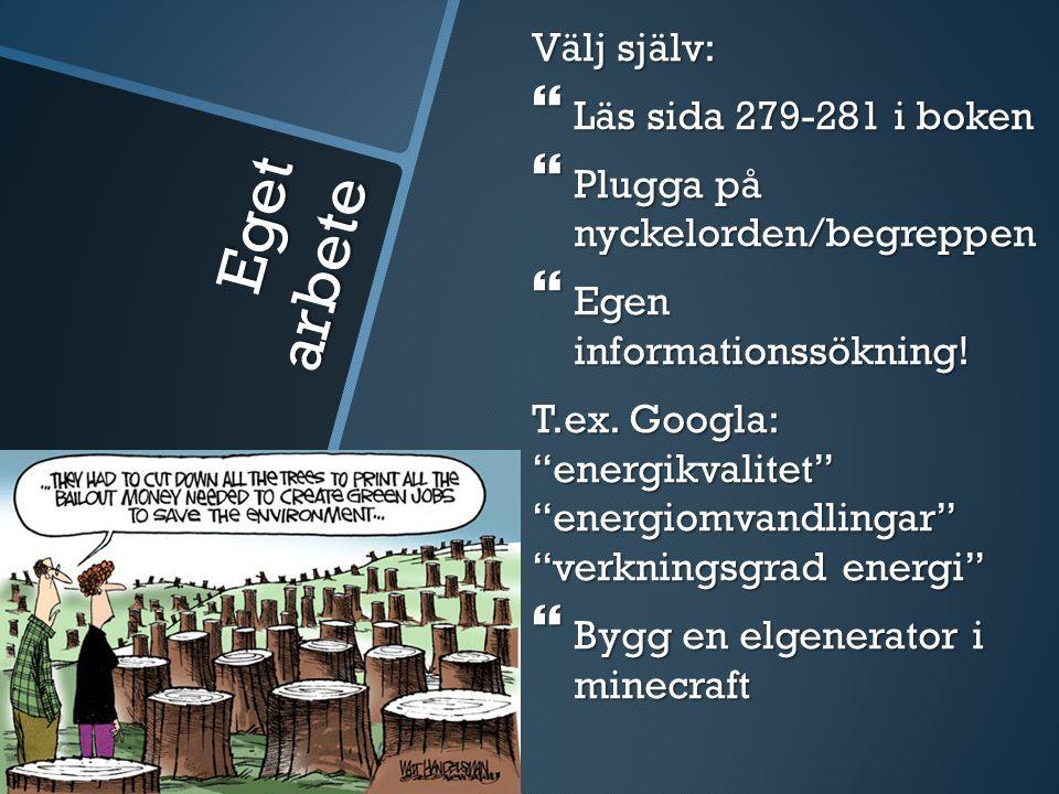 Eget arbete Välj själv:  Läs sida 279-281 i boken  Plugga på nyckelorden/begreppen  Egen informationssökning.