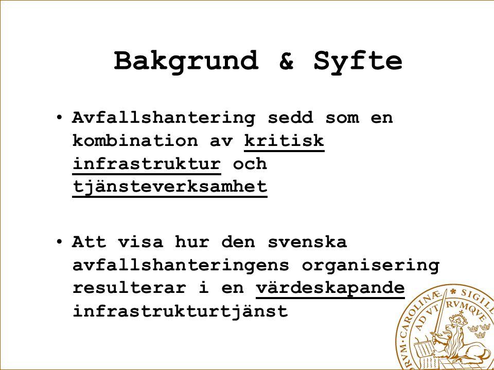 Bakgrund & Syfte Avfallshantering sedd som en kombination av kritisk infrastruktur och tjänsteverksamhet Att visa hur den svenska avfallshanteringens organisering resulterar i en värdeskapande infrastrukturtjänst
