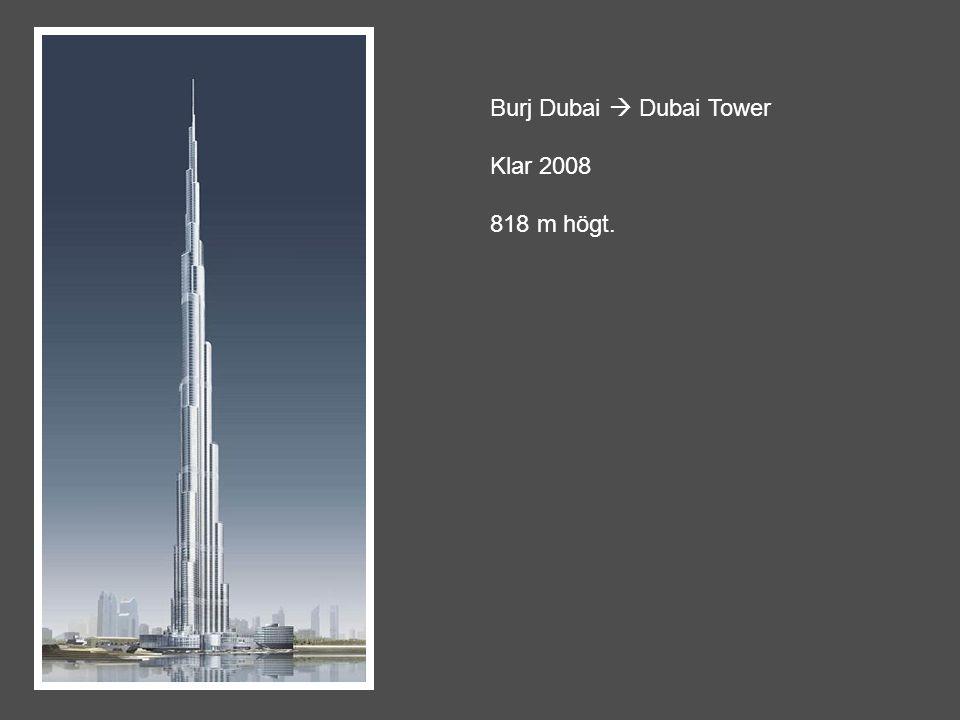 Burj Dubai  Dubai Tower Klar 2008 818 m högt.