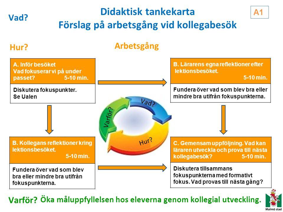 Didaktisk tankekarta Förslag på arbetsgång vid kollegabesök A. Inför besöket Vad fokuserar vi på under passet? 5-10 min. Diskutera fokuspunkter. Se Ua
