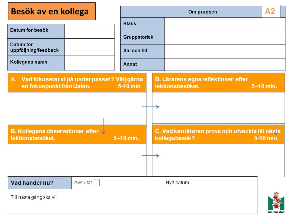 Besök av en kollega Datum för besök Datum för uppföljning/feedback Kollegans namn Om gruppen Klass Gruppstorlek Sal och tid Annat A.Vad fokuserar vi p