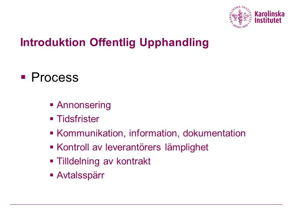 Introduktion Offentlig Upphandling  Process  Annonsering  Tidsfrister  Kommunikation, information, dokumentation  Kontroll av leverantörers lämpl