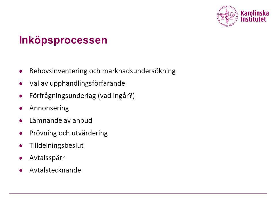 Inköpsprocessen  Behovsinventering och marknadsundersökning  Val av upphandlingsförfarande  Förfrågningsunderlag (vad ingår?)  Annonsering  Lämna