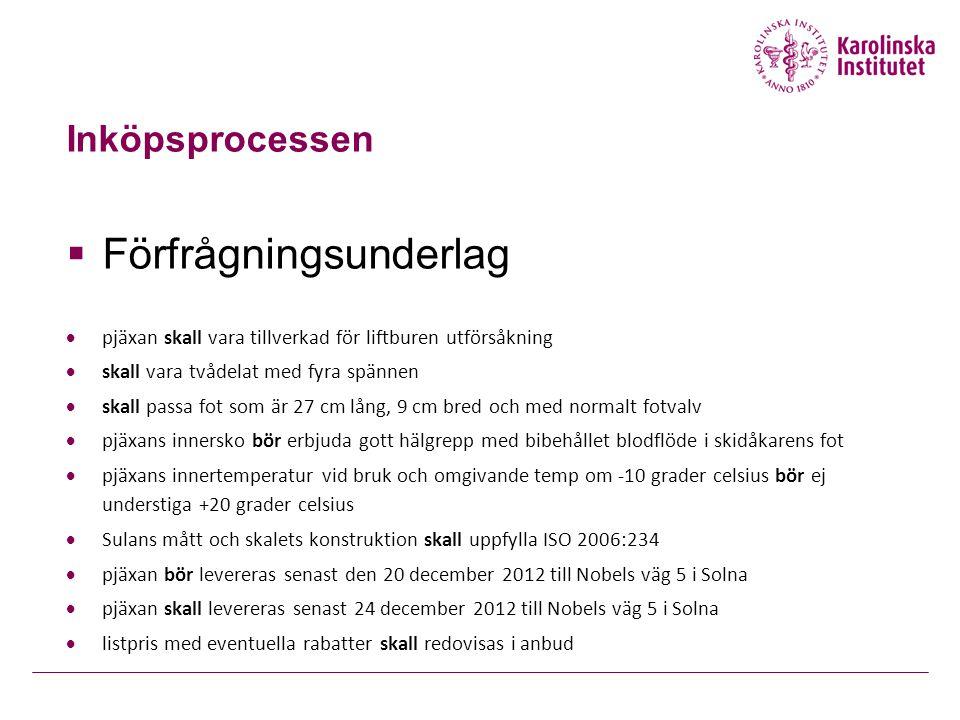 Inköpsprocessen  Förfrågningsunderlag  pjäxan skall vara tillverkad för liftburen utförsåkning  skall vara tvådelat med fyra spännen  skall passa