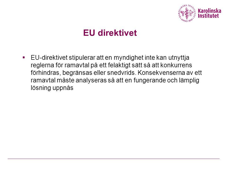 EU direktivet  EU-direktivet stipulerar att en myndighet inte kan utnyttja reglerna för ramavtal på ett felaktigt sätt så att konkurrens förhindras,