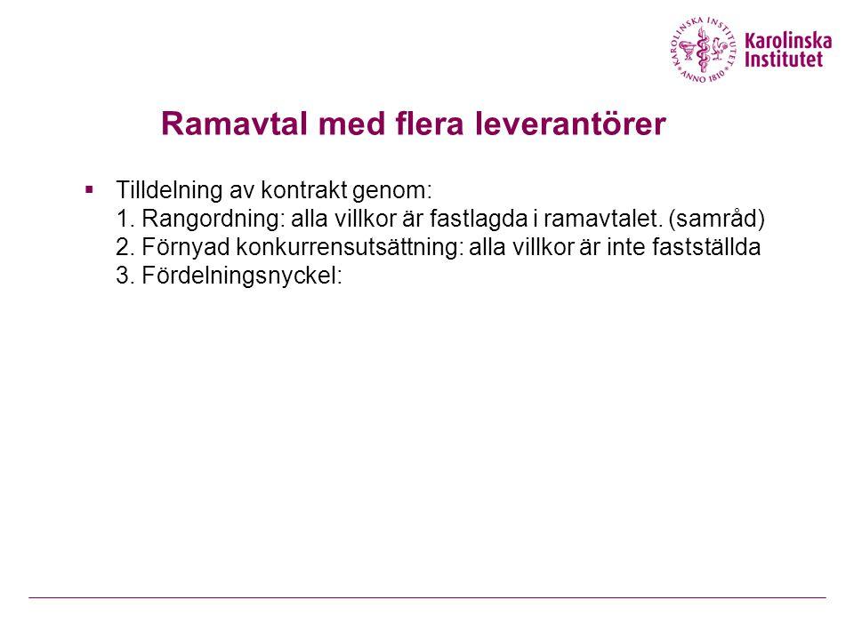 Ramavtal med flera leverantörer  Tilldelning av kontrakt genom: 1. Rangordning: alla villkor är fastlagda i ramavtalet. (samråd) 2. Förnyad konkurren