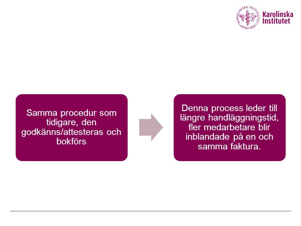 Samma procedur som tidigare, den godkänns/attesteras och bokförs Denna process leder till längre handläggningstid, fler medarbetare blir inblandade på