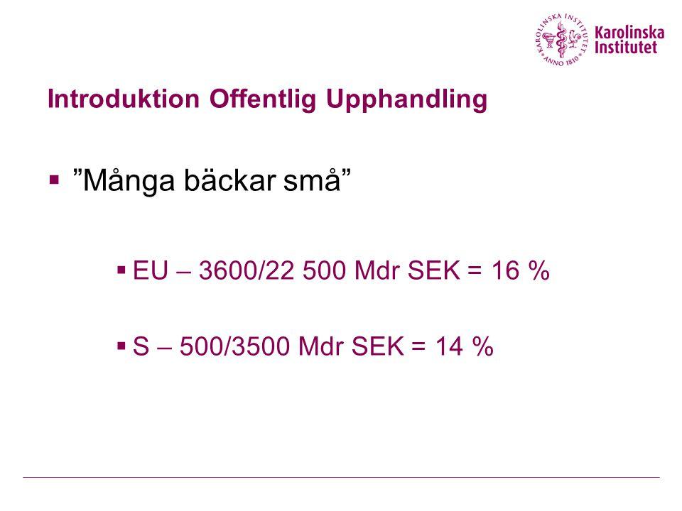 """Introduktion Offentlig Upphandling  """"Många bäckar små""""  EU – 3600/22 500 Mdr SEK = 16 %  S – 500/3500 Mdr SEK = 14 %"""