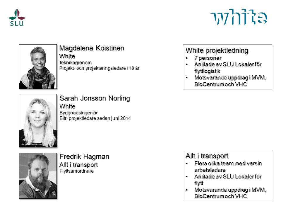 Magdalena Koistinen WhiteTeknikagronom Projekt- och projekteringsledare i 18 år Sarah Jonsson Norling WhiteByggnadsingenjör Bitr. projektledare sedan