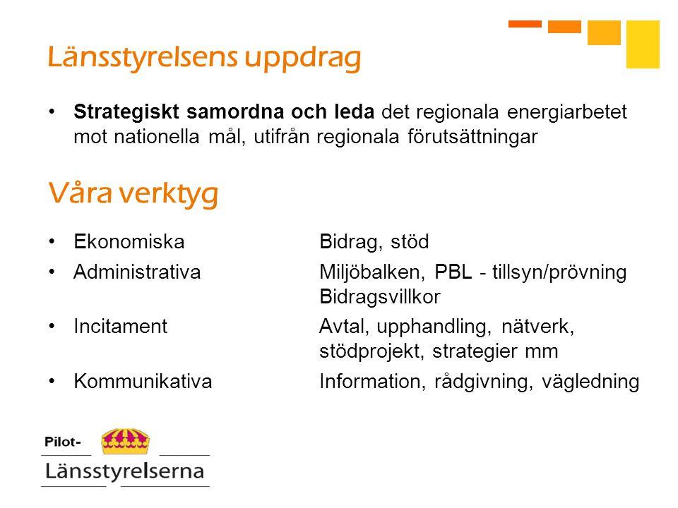 Länsstyrelsens uppdrag Strategiskt samordna och leda det regionala energiarbetet mot nationella mål, utifrån regionala förutsättningar Våra verktyg EkonomiskaBidrag, stöd AdministrativaMiljöbalken, PBL - tillsyn/prövning Bidragsvillkor IncitamentAvtal, upphandling, nätverk, stödprojekt, strategier mm KommunikativaInformation, rådgivning, vägledning