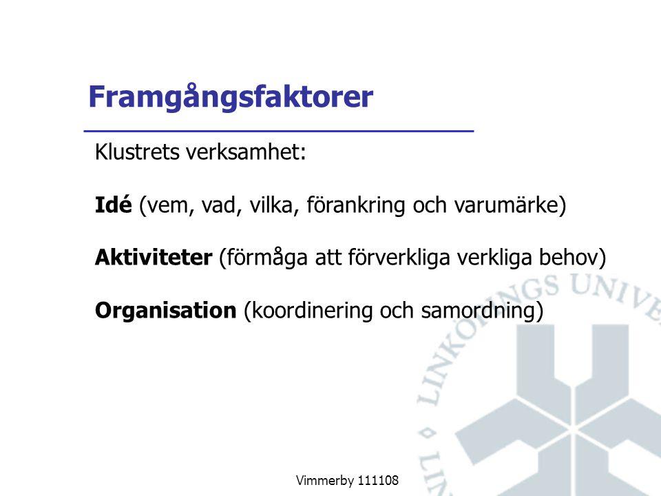 Vimmerby 111108 Framgångsfaktorer Klustrets verksamhet: Idé (vem, vad, vilka, förankring och varumärke) Aktiviteter (förmåga att förverkliga verkliga behov) Organisation (koordinering och samordning)