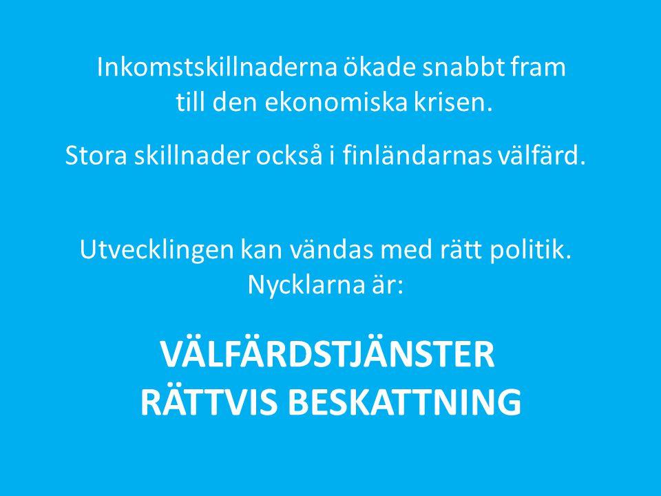 Stora skillnader också i finländarnas välfärd. VÄLFÄRDSTJÄNSTER RÄTTVIS BESKATTNING Inkomstskillnaderna ökade snabbt fram till den ekonomiska krisen.