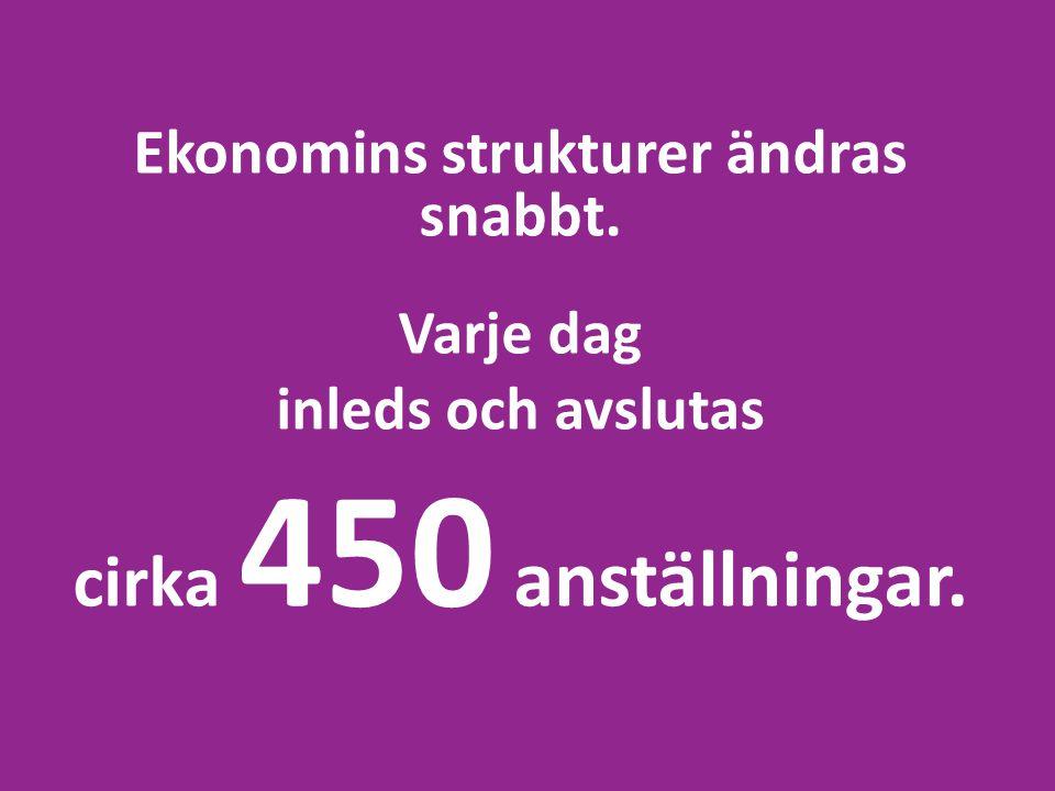 Ekonomins strukturer ändras snabbt. Varje dag inleds och avslutas cirka 450 anställningar.