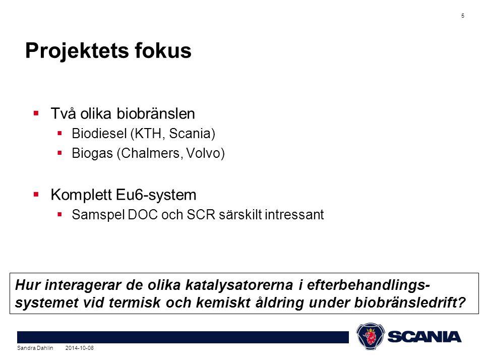  Två olika biobränslen  Biodiesel (KTH, Scania)  Biogas (Chalmers, Volvo)  Komplett Eu6-system  Samspel DOC och SCR särskilt intressant Sandra Dahlin 2014-10-08 5 Projektets fokus Hur interagerar de olika katalysatorerna i efterbehandlings- systemet vid termisk och kemiskt åldring under biobränsledrift
