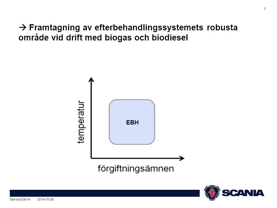  Framtagning av efterbehandlingssystemets robusta område vid drift med biogas och biodiesel Sandra Dahlin 2014-10-08 7 EBH