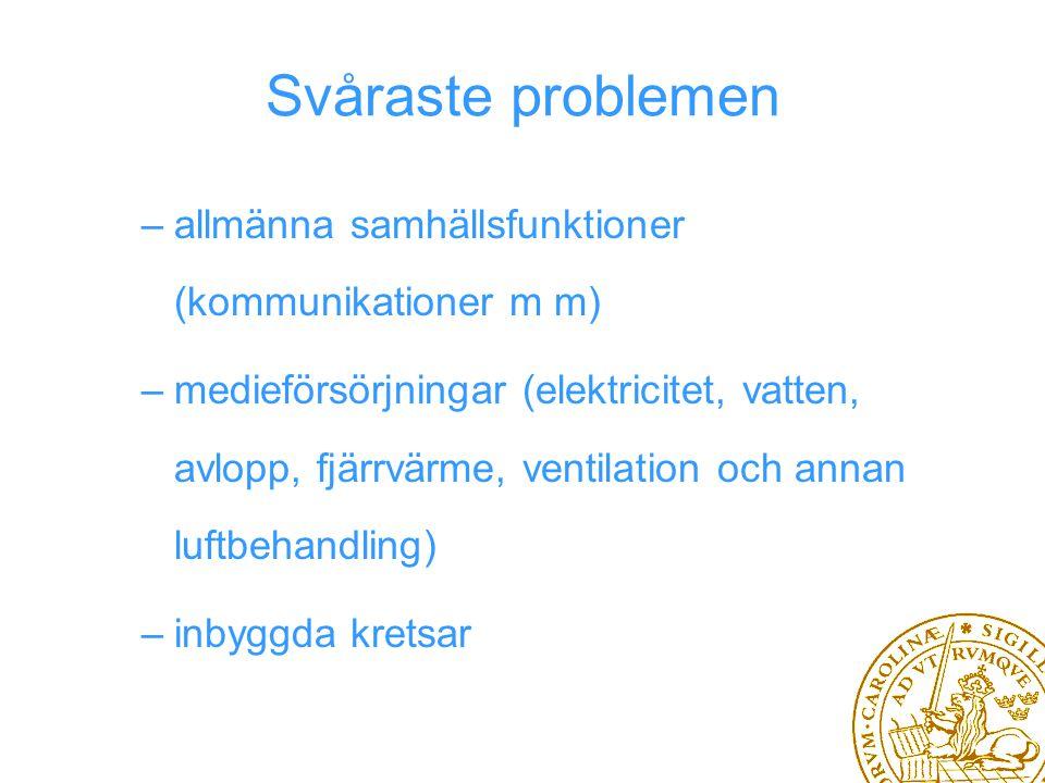 Svåraste problemen –allmänna samhällsfunktioner (kommunikationer m m) –medieförsörjningar (elektricitet, vatten, avlopp, fjärrvärme, ventilation och annan luftbehandling) –inbyggda kretsar