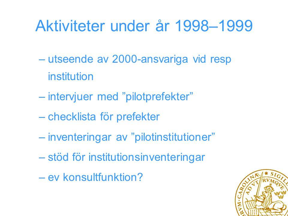 Aktiviteter under år 1998–1999 –utseende av 2000-ansvariga vid resp institution –intervjuer med pilotprefekter –checklista för prefekter –inventeringar av pilotinstitutioner –stöd för institutionsinventeringar –ev konsultfunktion