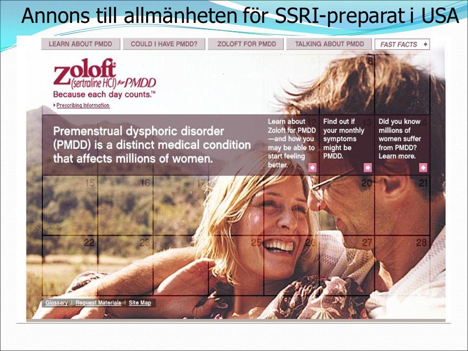 Annons till allmänheten för SSRI-preparat i USA