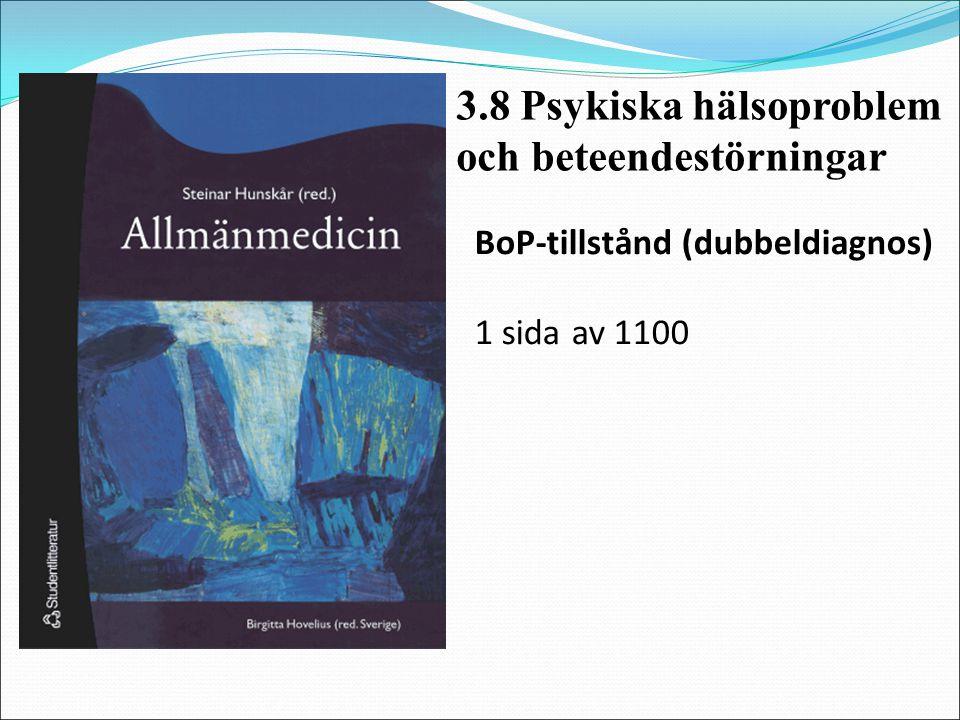 BoP-tillstånd (dubbeldiagnos) 1 sida av 1100 3.8 Psykiska hälsoproblem och beteendestörningar