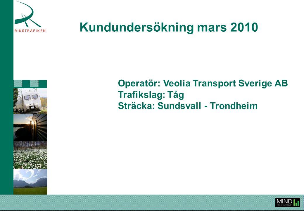 Kundundersökning mars 2010 Operatör: Veolia Transport Sverige AB Trafikslag: Tåg Sträcka: Sundsvall - Trondheim