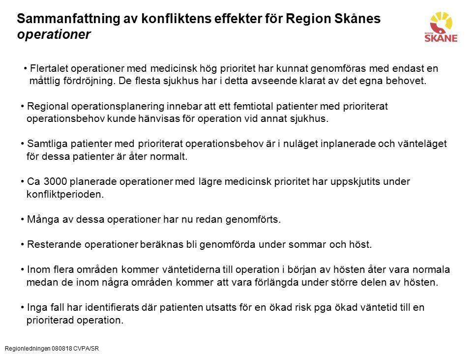 Regionledningen 080818 CVPA/SR Sammanfattning av konfliktens effekter för Region Skånes operationer Flertalet operationer med medicinsk hög prioritet har kunnat genomföras med endast en måttlig fördröjning.