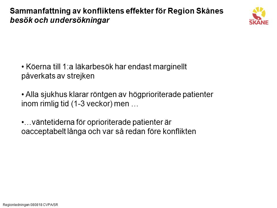 Regionledningen 080818 CVPA/SR Sammanfattning av konfliktens effekter för Region Skånes besök och undersökningar Köerna till 1:a läkarbesök har endast marginellt påverkats av strejken Alla sjukhus klarar röntgen av högprioriterade patienter inom rimlig tid (1-3 veckor) men … …väntetiderna för oprioriterade patienter är oacceptabelt långa och var så redan före konflikten