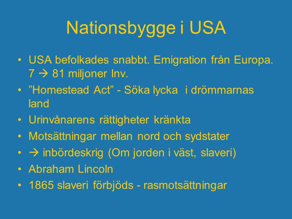 """Nationsbygge i USA USA befolkades snabbt. Emigration från Europa. 7  81 miljoner Inv. """"Homestead Act"""" - Söka lycka i drömmarnas land Urinvånarens rät"""