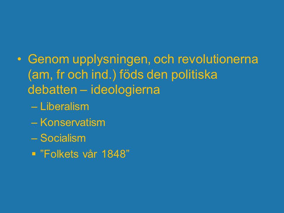 """Genom upplysningen, och revolutionerna (am, fr och ind.) föds den politiska debatten – ideologierna –Liberalism –Konservatism –Socialism  """"Folkets vå"""