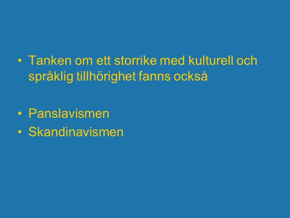 Tanken om ett storrike med kulturell och språklig tillhörighet fanns också Panslavismen Skandinavismen