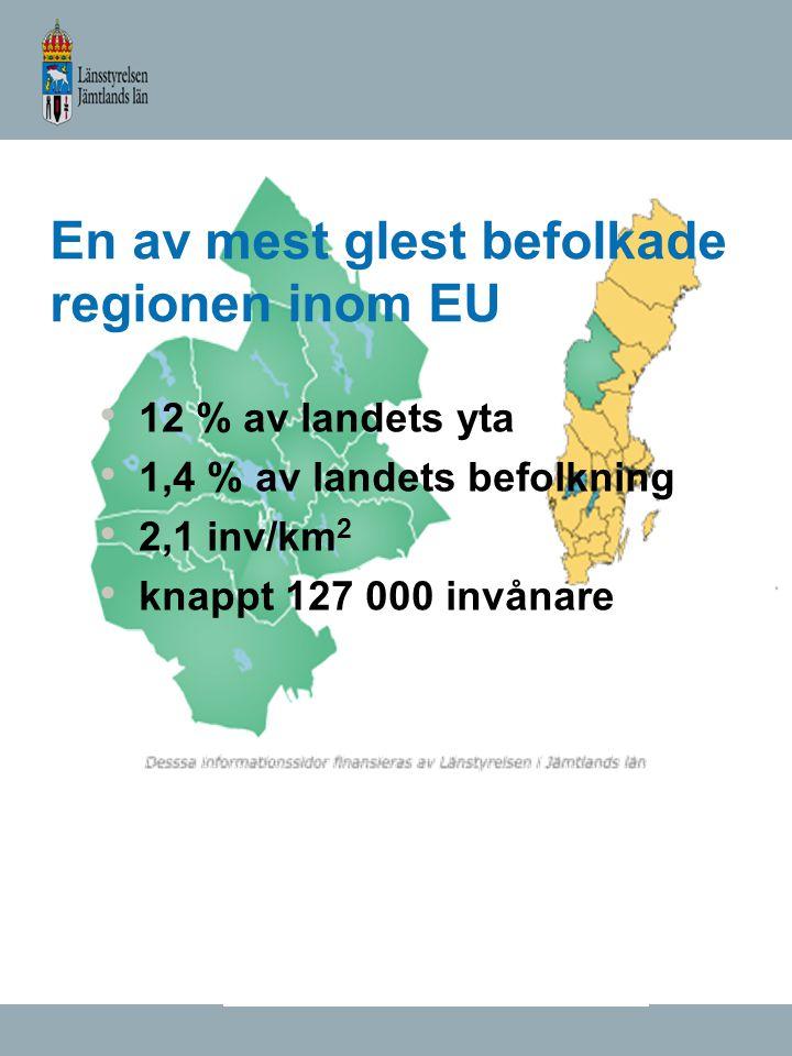 En av mest glest befolkade regionen inom EU 12 % av landets yta 1,4 % av landets befolkning 2,1 inv/km 2 knappt 127 000 invånare
