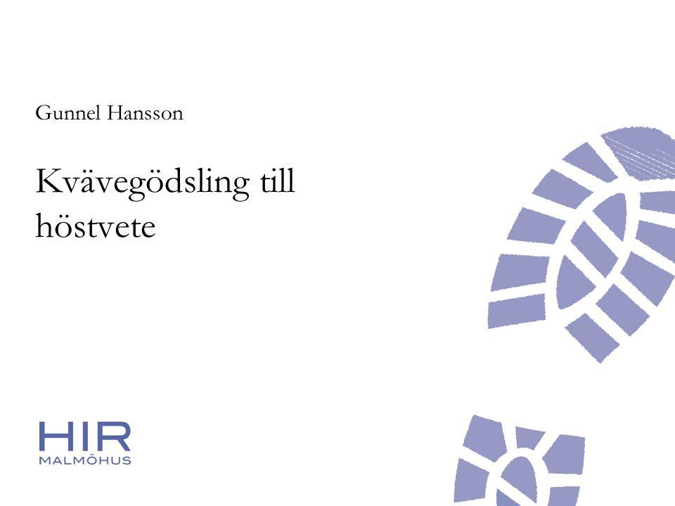 Kvävegödsling till höstvete Gunnel Hansson