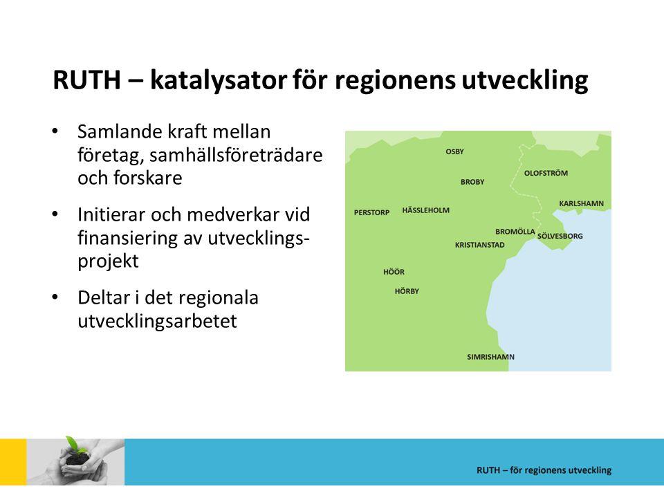 RUTH – katalysator för regionens utveckling Samlande kraft mellan företag, samhällsföreträdare och forskare Initierar och medverkar vid finansiering a