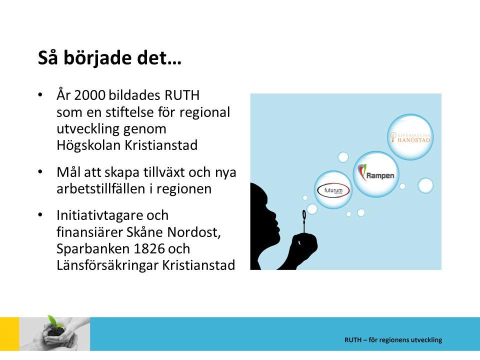 Så började det… År 2000 bildades RUTH som en stiftelse för regional utveckling genom Högskolan Kristianstad Mål att skapa tillväxt och nya arbetstillf