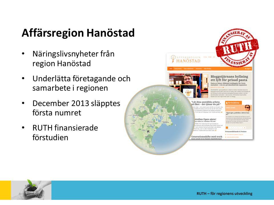 Affärsregion Hanöstad Näringslivsnyheter från region Hanöstad Underlätta företagande och samarbete i regionen December 2013 släpptes första numret RUT