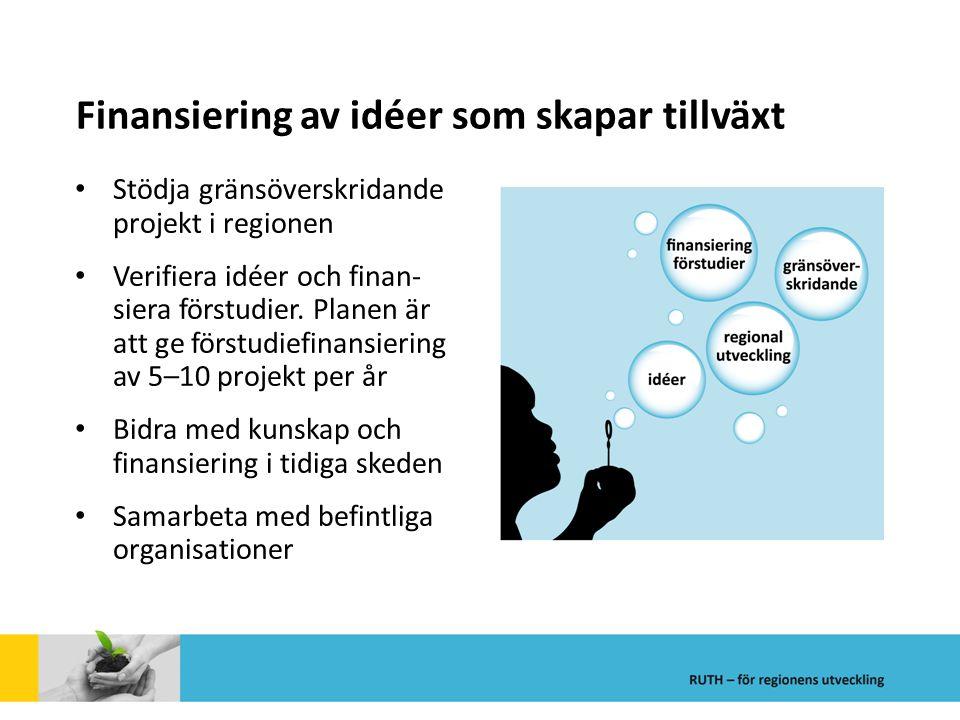 Finansiering av idéer som skapar tillväxt Stödja gränsöverskridande projekt i regionen Verifiera idéer och finan- siera förstudier. Planen är att ge f
