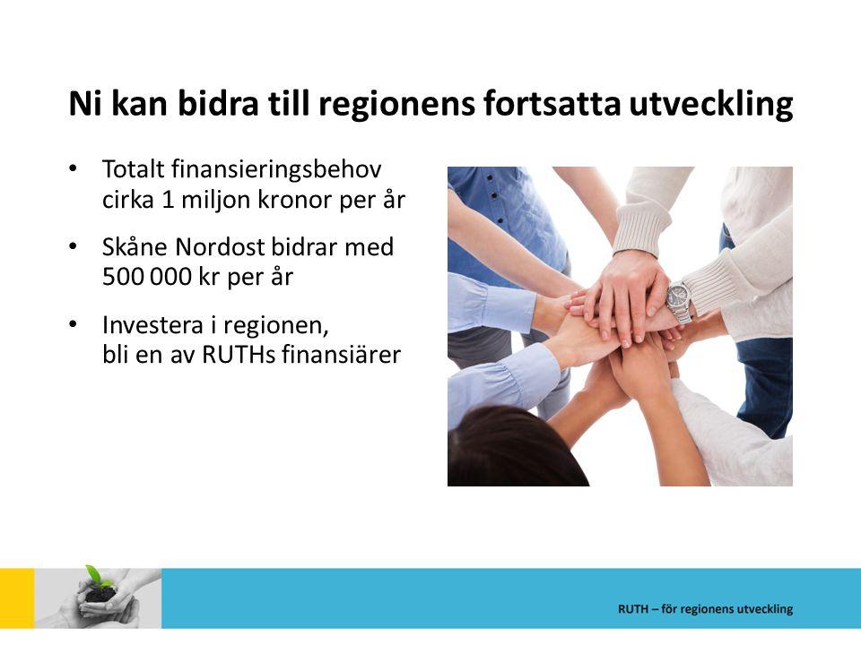 Ni kan bidra till regionens fortsatta utveckling Totalt finansieringsbehov cirka 1 miljon kronor per år Skåne Nordost bidrar med 500 000 kr per år Inv