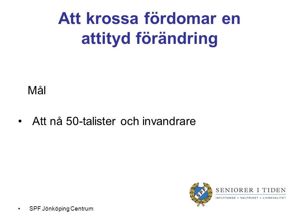 Verktyg = Utbilda ambassadörer Hur = genom nytt arbetssätt Uppsökande verksamhet Facebook SPF Jönköping Centrum
