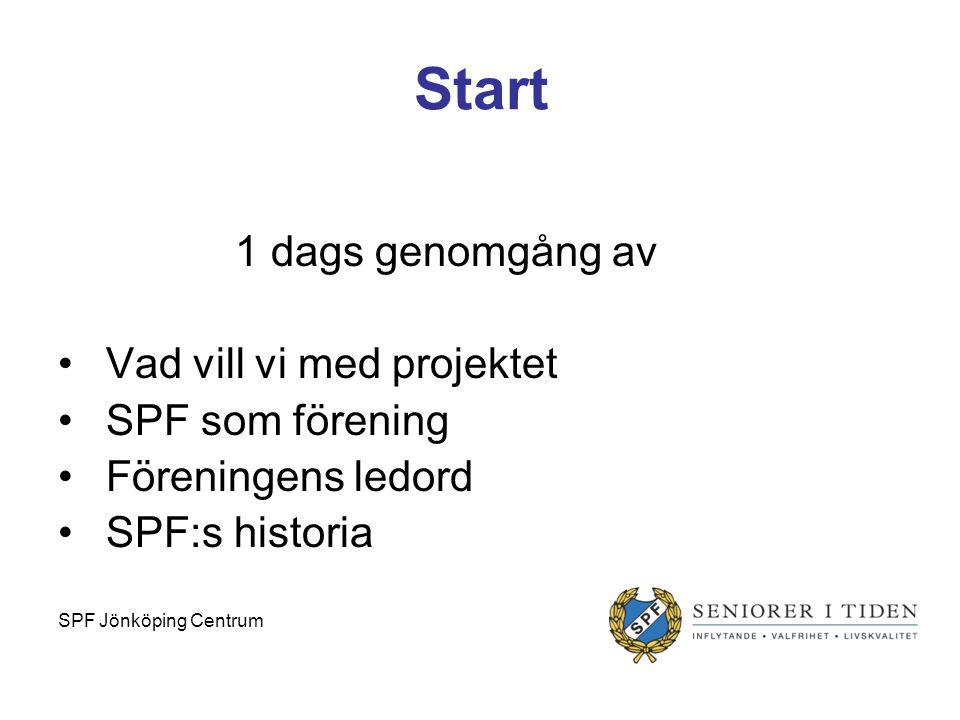Start 1 dags genomgång av Vad vill vi med projektet SPF som förening Föreningens ledord SPF:s historia SPF Jönköping Centrum