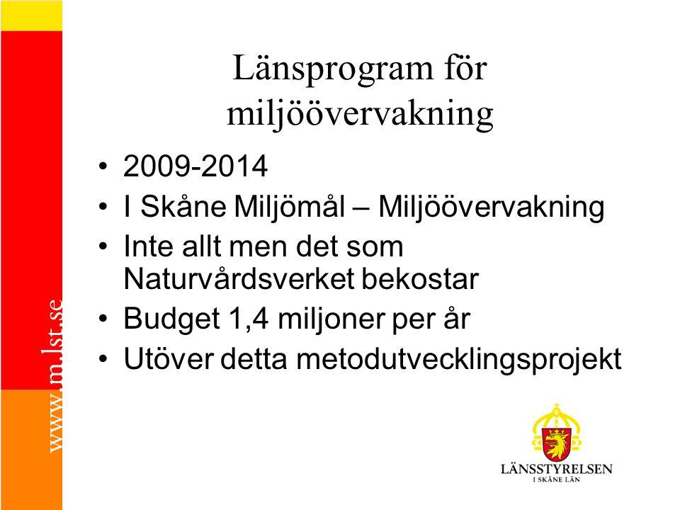 Länsprogram för miljöövervakning 2009-2014 I Skåne Miljömål – Miljöövervakning Inte allt men det som Naturvårdsverket bekostar Budget 1,4 miljoner per år Utöver detta metodutvecklingsprojekt